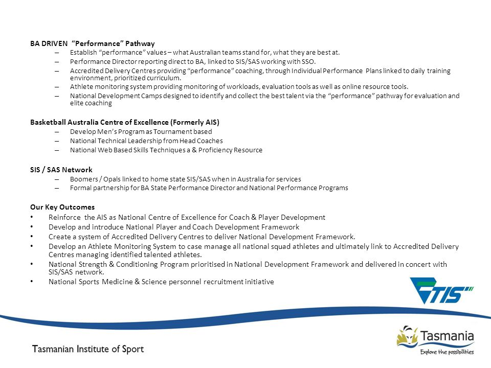 BA DRIVEN Performance Pathway – Establish performance values – what Australian teams stand for, what they are best at.
