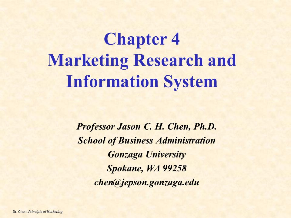 Dr. Chen, Principle of Marketing 4 Marketing Applications
