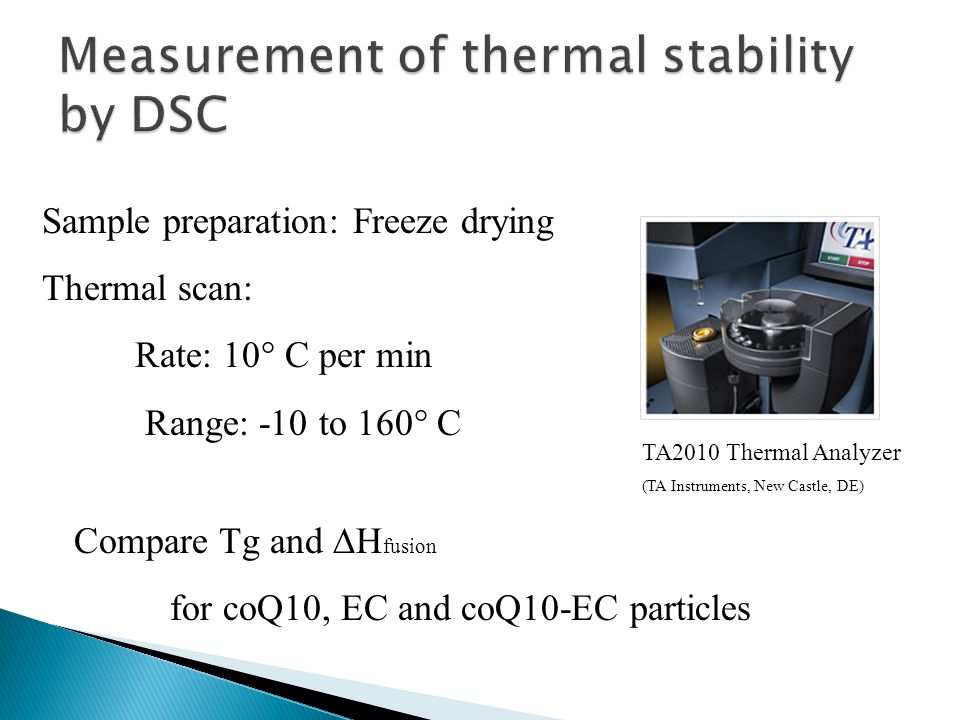 Compare Tg and  H fusion for coQ10, EC and coQ10-EC particles TA2010 Thermal Analyzer (TA Instruments, New Castle, DE) Sample preparation: Freeze drying Thermal scan: Rate: 10° C per min Range: -10 to 160° C