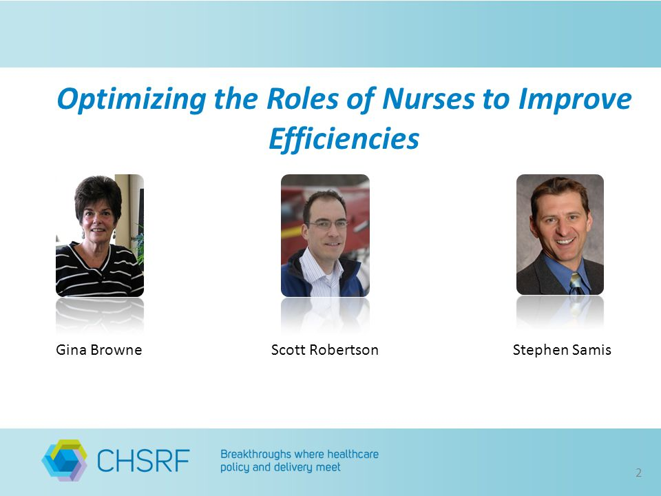 Gina BrowneStephen SamisScott Robertson 2 Optimizing the Roles of Nurses to Improve Efficiencies