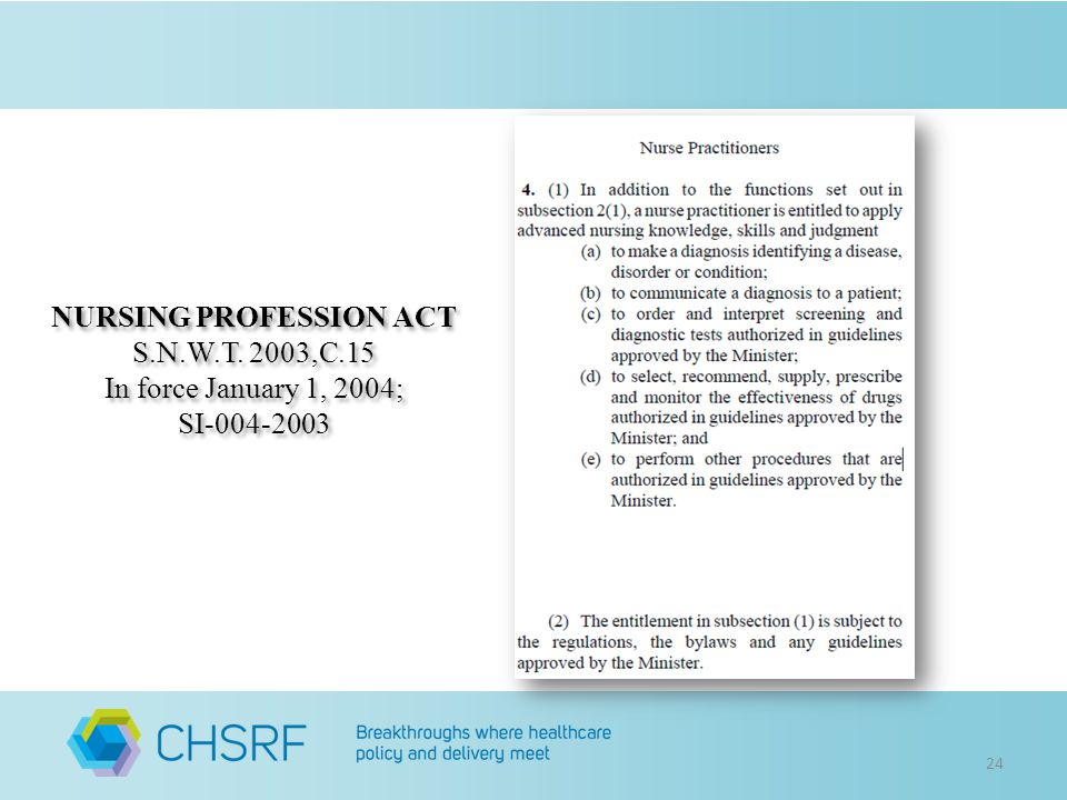 24 NURSING PROFESSION ACT S.N.W.T. 2003,C.15 In force January 1, 2004; SI-004-2003 NURSING PROFESSION ACT S.N.W.T. 2003,C.15 In force January 1, 2004;