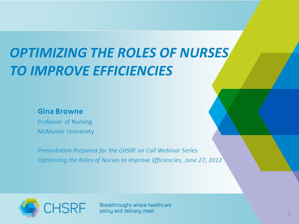 OPTIMIZING THE ROLES OF NURSES TO IMPROVE EFFICIENCIES Gina Browne Professor of Nursing McMaster University Presentation Prepared for the CHSRF on Call Webinar Series Optimizing the Roles of Nurses to Improve Efficiencies, June 27, 2012 3