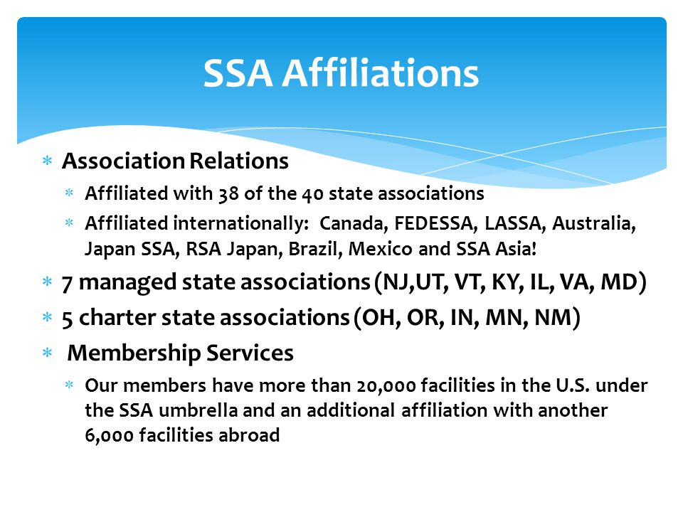  Association Relations  Affiliated with 38 of the 40 state associations  Affiliated internationally: Canada, FEDESSA, LASSA, Australia, Japan SSA, RSA Japan, Brazil, Mexico and SSA Asia.