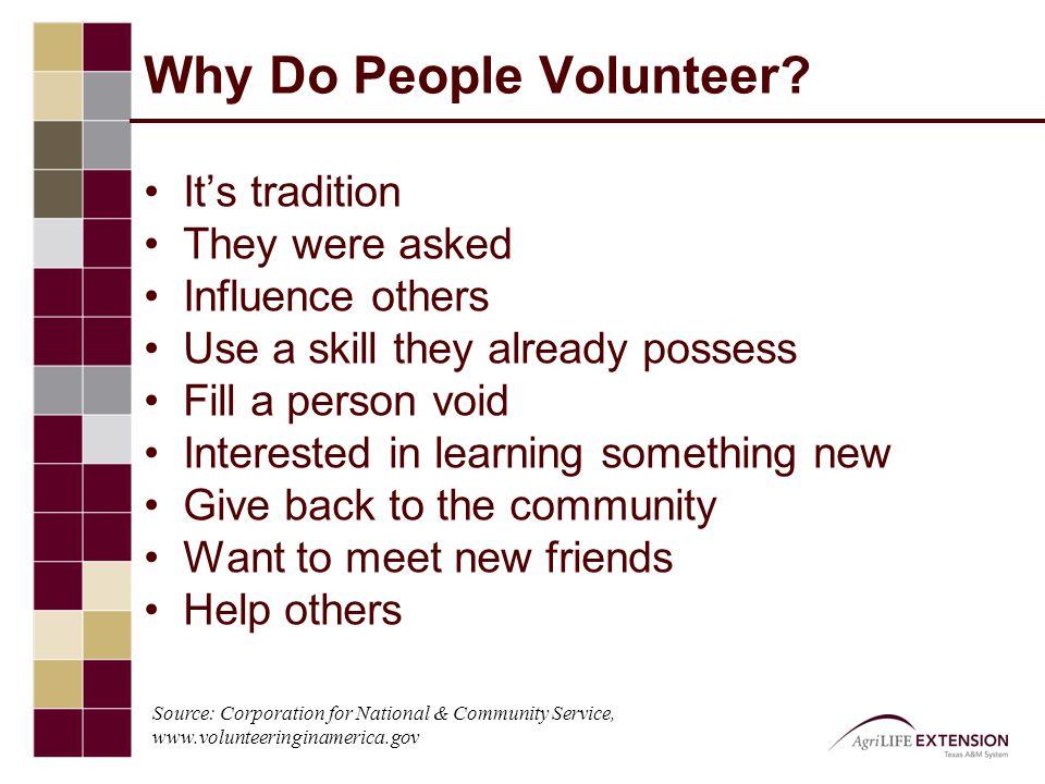 Why Do People Volunteer.