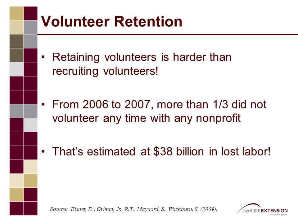 Volunteer Retention Retaining volunteers is harder than recruiting volunteers.