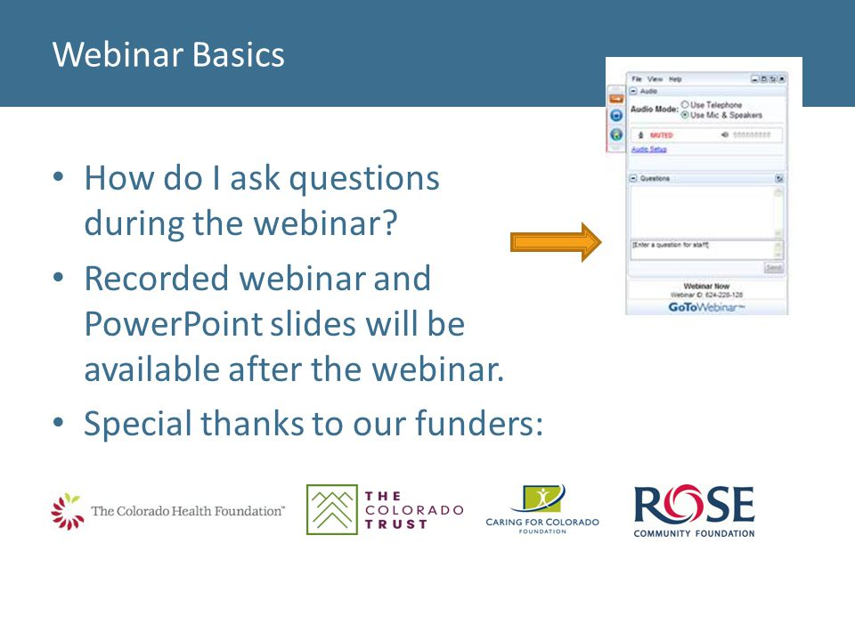 Webinar Basics How do I ask questions during the webinar.
