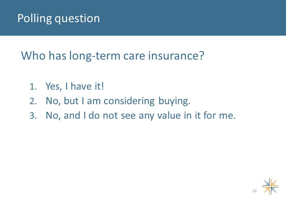 Who has long-term care insurance. 1. Yes, I have it.