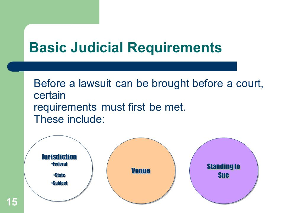 Basic Judicial Requirements Before a lawsuit can be brought before a court, certain requirements must first be met. These include: Jurisdiction Federa