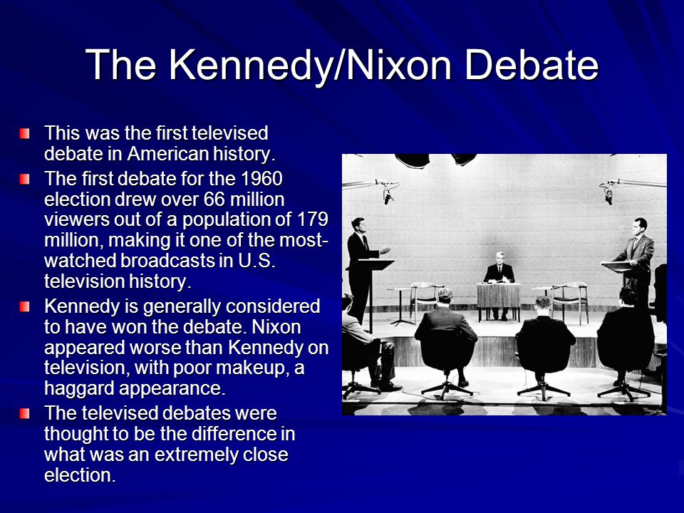 The Kennedy/Nixon Debate This was the first televised debate in American history.