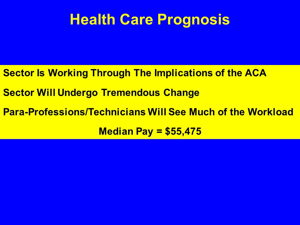 Health Care Prognosis Sector Is Working Through The Implications of the ACA Sector Will Undergo Tremendous Change Para-Professions/Technicians Will See Much of the Workload Median Pay = $55,475