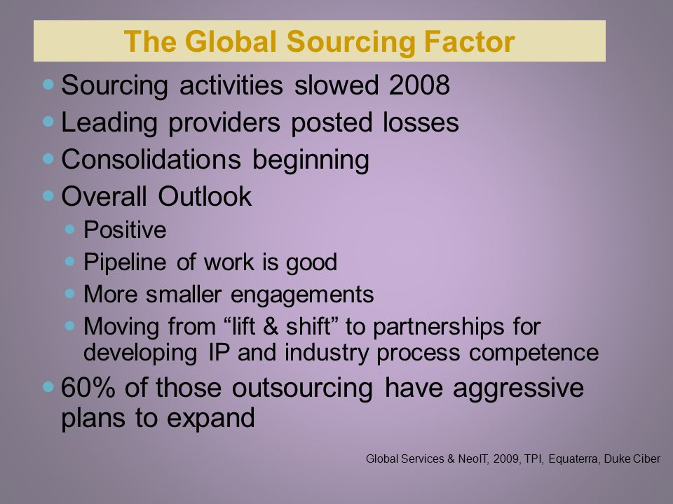 The Global Sourcing Factor Sourcing activities slowed 2008 Leading providers posted losses Consolidations beginning Overall Outlook Positive Pipeline of work is good More smaller engagements Moving from lift & shift to partnerships for developing IP and industry process competence 60% of those outsourcing have aggressive plans to expand Global Services & NeoIT, 2009, TPI, Equaterra, Duke Ciber