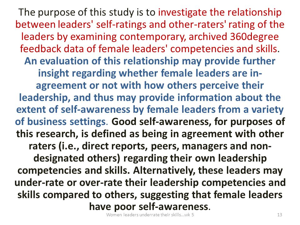The purpose of this study is to investigate the relationship between leaders' self-ratings and other-raters' rating of the leaders by examining contem