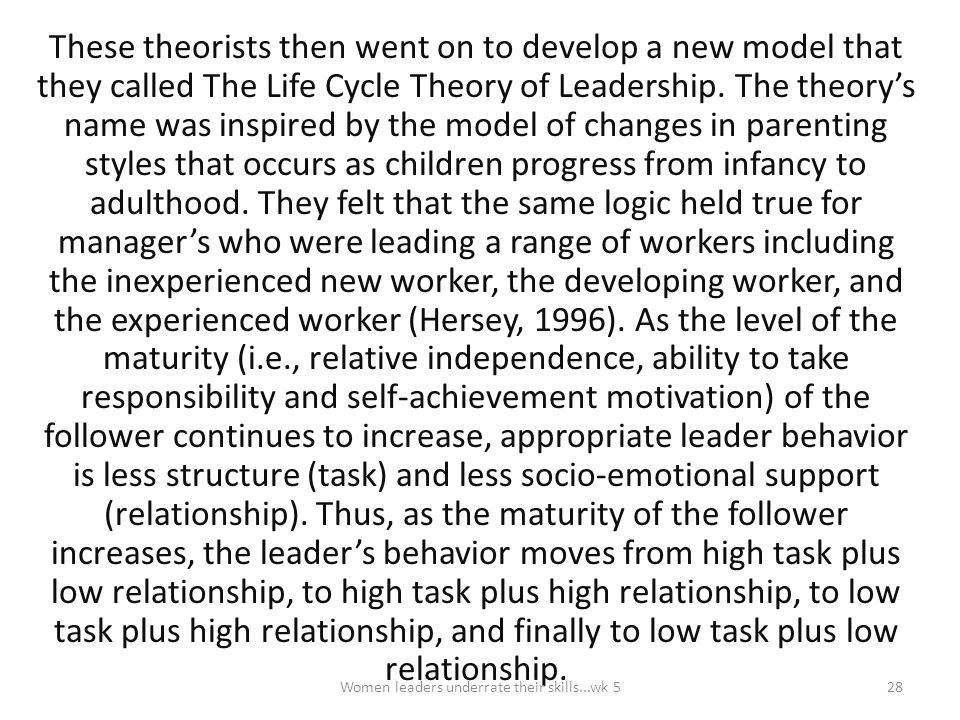 These theorists then went on to develop a new model that they called The Life Cycle Theory of Leadership. The theory's name was inspired by the model