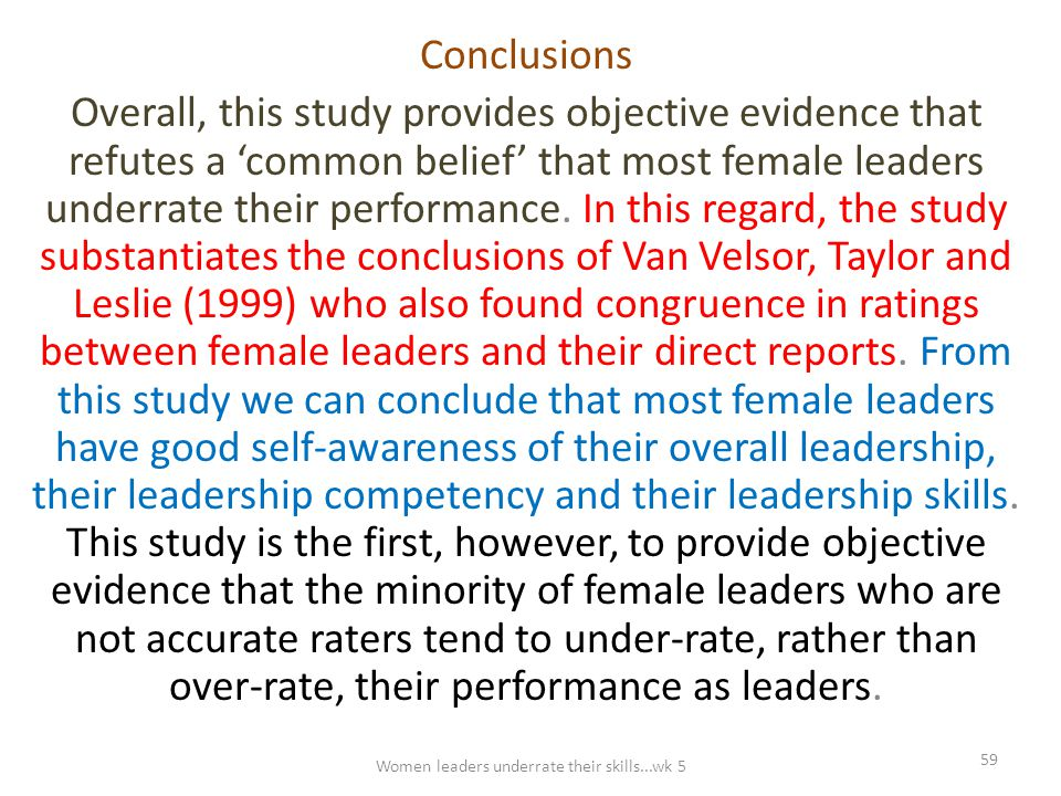 Conclusions Overall, this study provides objective evidence that refutes a 'common belief' that most female leaders underrate their performance. In th