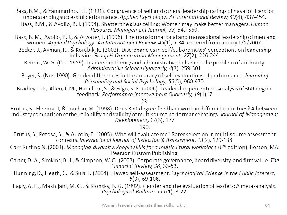 Bass, B.M., & Yammarino, F. J. (1991). Congruence of self and others' leadership ratings of naval officers for understanding successful performance. A
