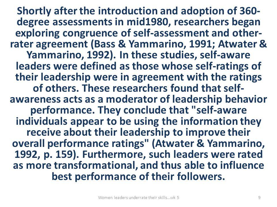 Gender, Leadership and 360-degree Leadership Assessment Van Velsor, Taylor and Leslie (1993, p.