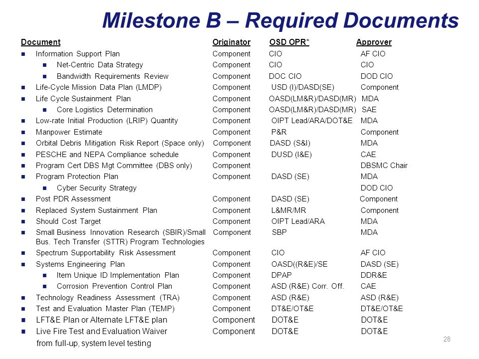 Milestone B – Required Documents Information Support Plan Component CIO AF CIO Net-Centric Data Strategy Component CIO CIO Bandwidth Requirements ReviewComponent DOC CIO DOD CIO Life-Cycle Mission Data Plan (LMDP)Component USD (I)/DASD(SE) Component Life Cycle Sustainment PlanComponent OASD(LM&R)/DASD(MR) MDA Core Logistics DeterminationComponent OASD(LM&R)/DASD(MR) SAE Low-rate Initial Production (LRIP) QuantityComponent OIPT Lead/ARA/DOT&E MDA Manpower EstimateComponent P&R Component Orbital Debris Mitigation Risk Report (Space only) Component DASD (S&I) MDA PESCHE and NEPA Compliance scheduleComponent DUSD (I&E) CAE Program Cert DBS Mgt Committee (DBS only)Component DBSMC Chair Program Protection Plan Component DASD (SE) MDA Cyber Security Strategy DOD CIO Post PDR AssessmentComponent DASD (SE) Component Replaced System Sustainment Plan Component L&MR/MR Component Should Cost TargetComponent OIPT Lead/ARA MDA Small Business Innovation Research (SBIR)/Small Component SBP MDA Bus.
