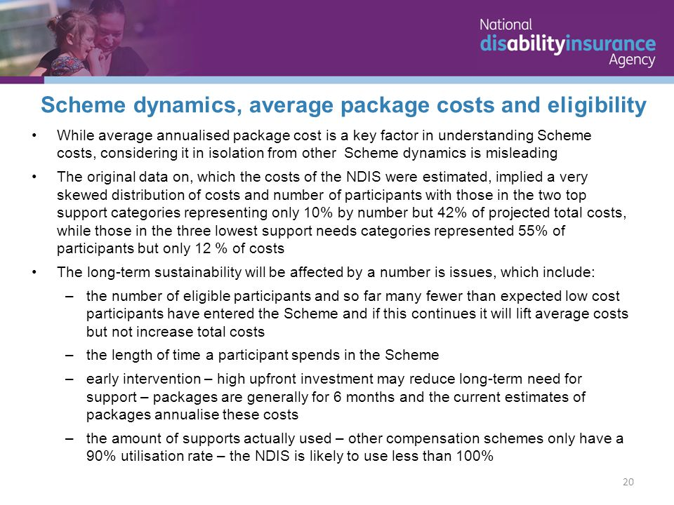 While average annualised package cost is a key factor in understanding Scheme costs, considering it in isolation from other Scheme dynamics is misleading The original data on, which the costs of the NDIS were estimated, implied a very skewed distribution of costs and number of participants with those in the two top support categories representing only 10% by number but 42% of projected total costs, while those in the three lowest support needs categories represented 55% of participants but only 12 % of costs The long-term sustainability will be affected by a number is issues, which include: –the number of eligible participants and so far many fewer than expected low cost participants have entered the Scheme and if this continues it will lift average costs but not increase total costs –the length of time a participant spends in the Scheme –early intervention – high upfront investment may reduce long-term need for support – packages are generally for 6 months and the current estimates of packages annualise these costs –the amount of supports actually used – other compensation schemes only have a 90% utilisation rate – the NDIS is likely to use less than 100% 20 Scheme dynamics, average package costs and eligibility