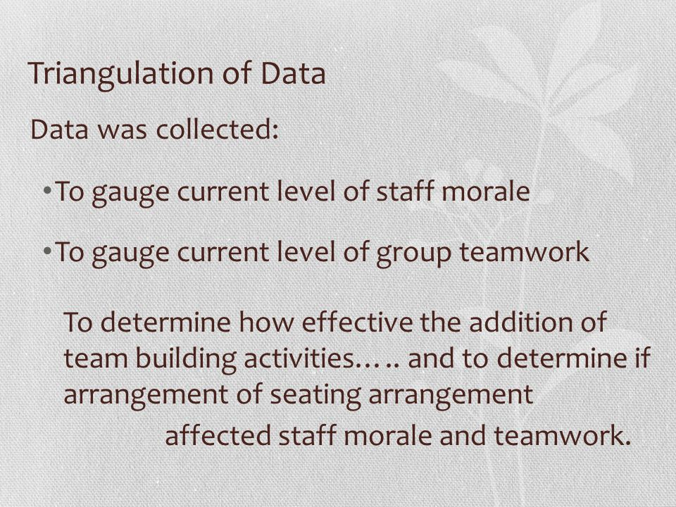 Triangulation of Data Data was collected: To gauge current level of staff morale To gauge current level of group teamwork To determine how effective the addition of team building activities…..