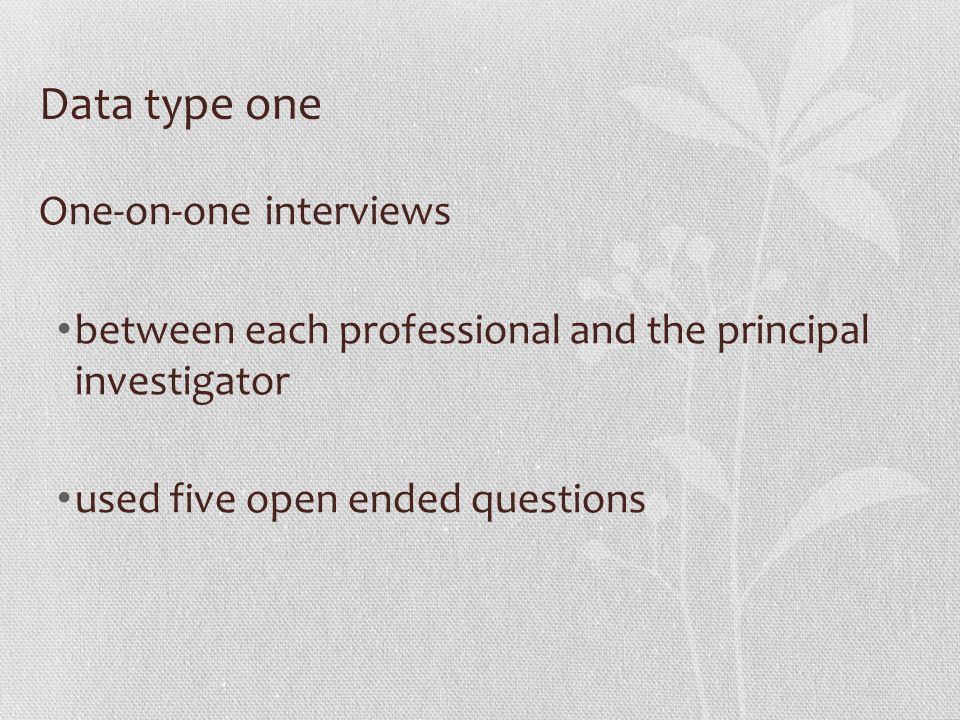 Data type one One-on-one interviews between each professional and the principal investigator used five open ended questions