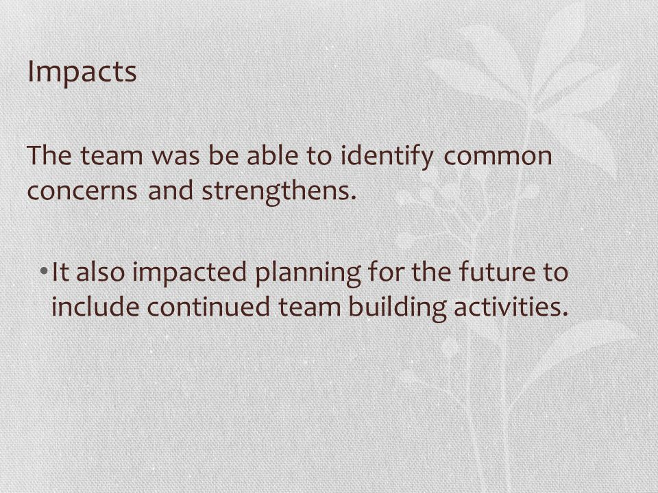 Impacts The team was be able to identify common concerns and strengthens. It also impacted planning for the future to include continued team building
