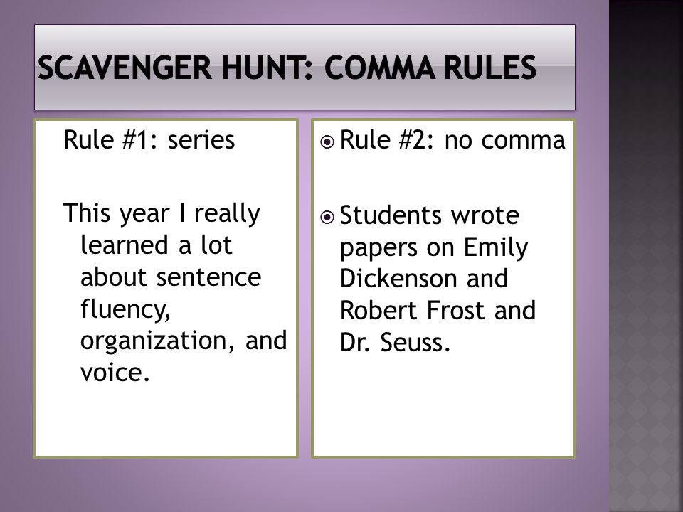 Rule #1: series This year I really learned a lot about sentence fluency, organization, and voice.