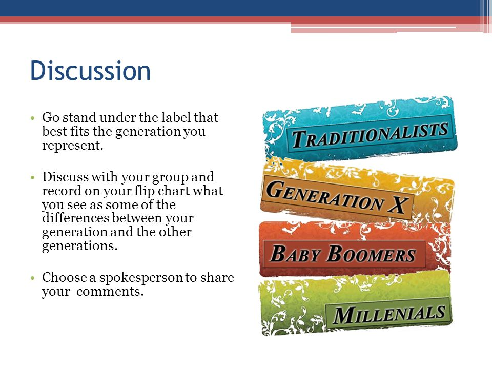 Discussion Go stand under the label that best fits the generation you represent.