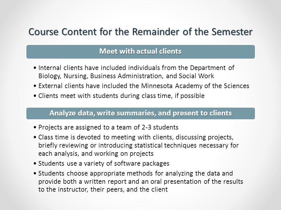 Examples of Past Projects Encountered by our Students The client had administered a pre/post survey involving 5-point Likert scale outcomes Students used a paired t-test to analyze the data Students also researched and implemented Bowker's test of symmetry to confirm the effect of the intervention Measuring the Effect of an Intervention Measuring the Effect of an Intervention Client: Nursing faculty The client had implemented two methods for teaching students how to solve problems in an operations management class Data consisted of scores on a final assessment and GPA for students from both groups Consulting students used analysis of covariance and found no significant difference in the two teaching methods Comparing Two Teaching Methods Comparing Two Teaching Methods Client: Business Admin.