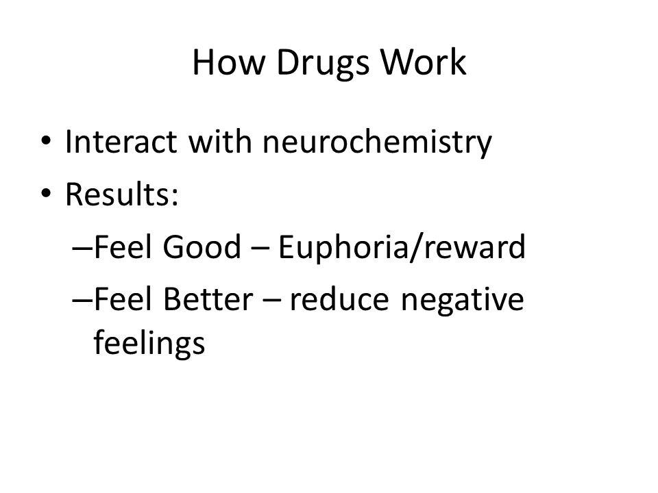 How Drugs Work Interact with neurochemistry Results: – Feel Good – Euphoria/reward – Feel Better – reduce negative feelings
