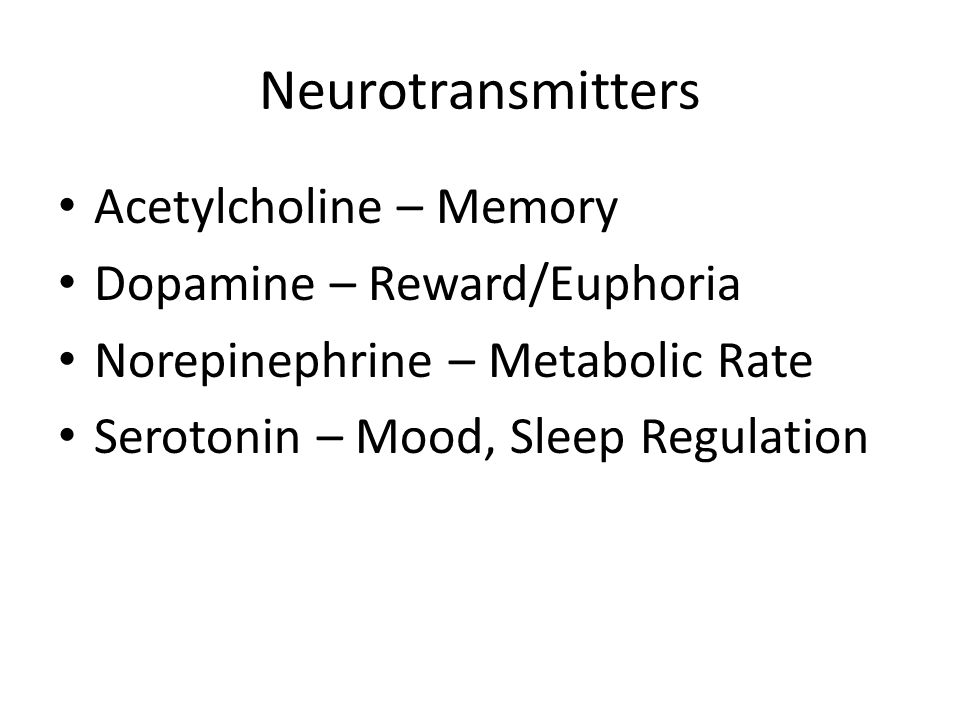 Neurotransmitters Acetylcholine – Memory Dopamine – Reward/Euphoria Norepinephrine – Metabolic Rate Serotonin – Mood, Sleep Regulation