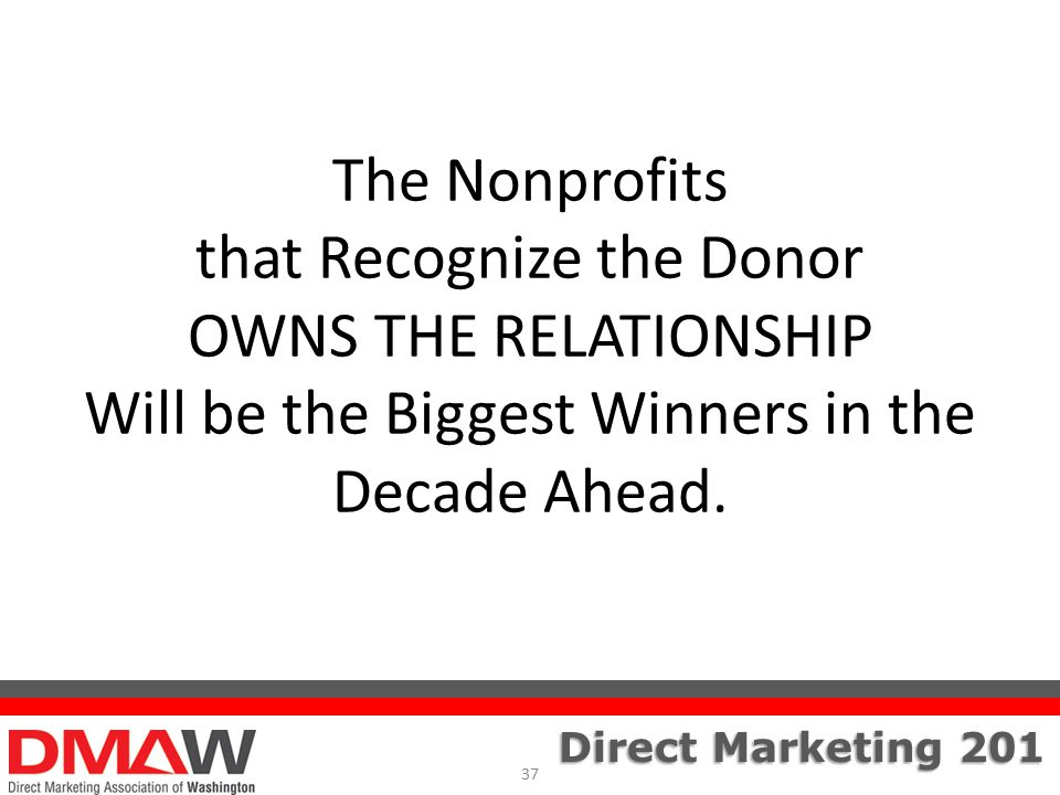 Direct Marketing 201 The Nonprofits that Recognize the Donor OWNS THE RELATIONSHIP Will be the Biggest Winners in the Decade Ahead.