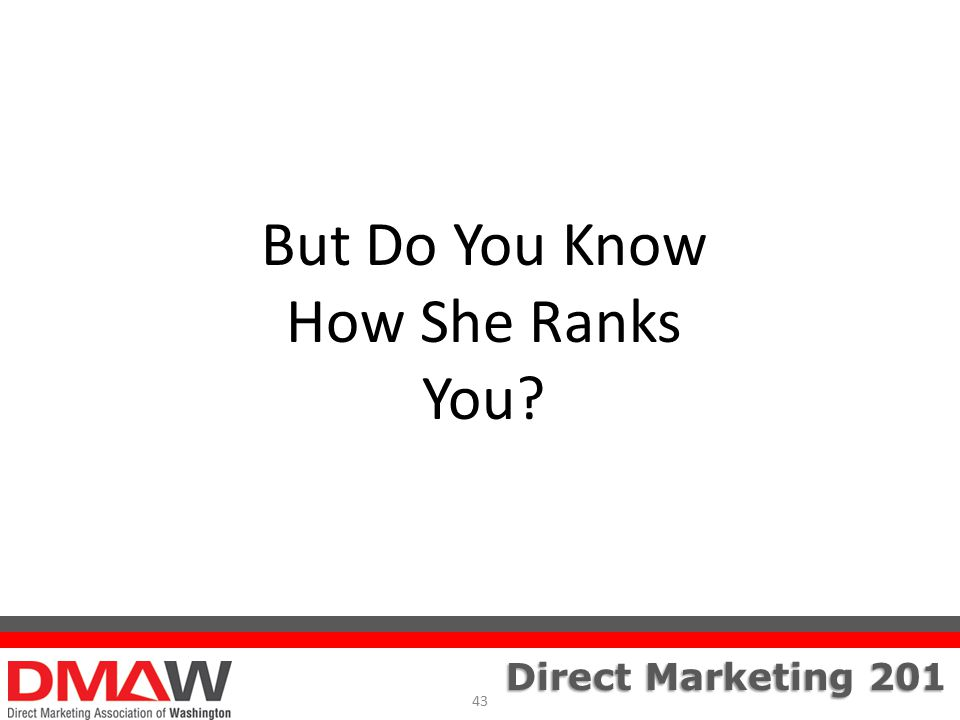 Direct Marketing 201 But Do You Know How She Ranks You 43