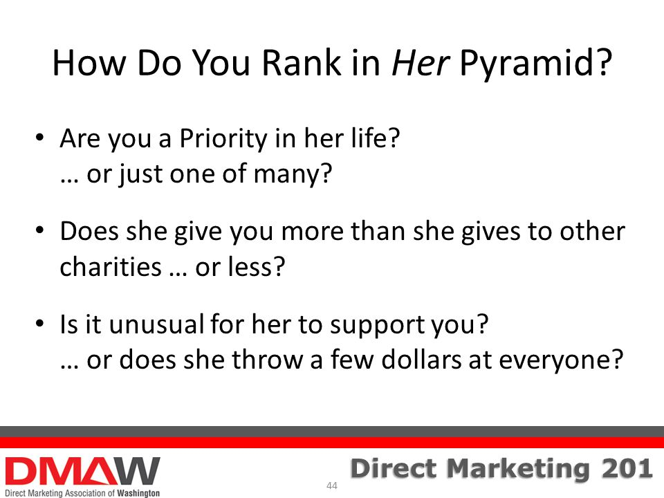 Direct Marketing 201 How Do You Rank in Her Pyramid.