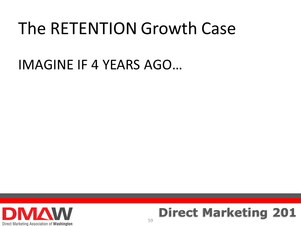 Direct Marketing 201 The RETENTION Growth Case IMAGINE IF 4 YEARS AGO… 59