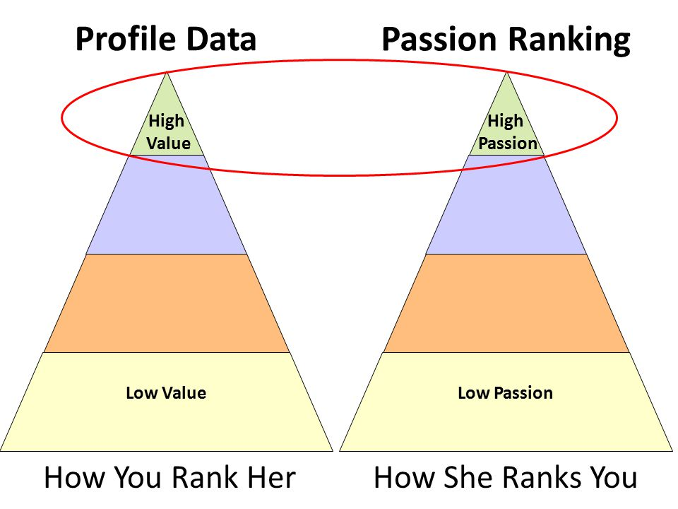 Profile Data Low Value High Value How You Rank Her Low Passion High Passion How She Ranks You Passion Ranking