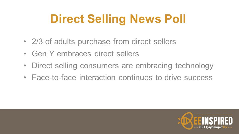 Direct Selling News Poll 2/3 of adults purchase from direct sellers Gen Y embraces direct sellers Direct selling consumers are embracing technology Fa