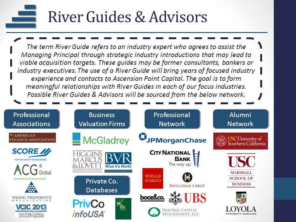River Guides & Advisors Professional Associations Business Valuation Firms Professional Network Private Co. Databases Alumni Network The term River Gu