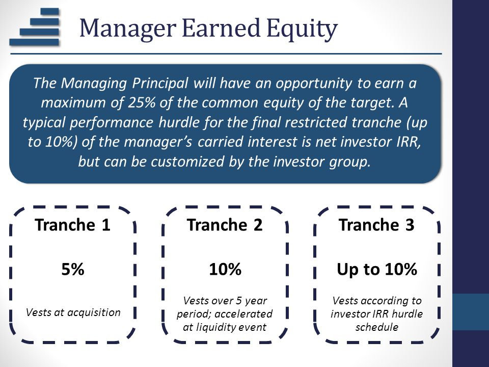 Manager Earned Equity Tranche 1 5% Vests at acquisition Tranche 2 10% Vests over 5 year period; accelerated at liquidity event Tranche 3 Up to 10% Ves