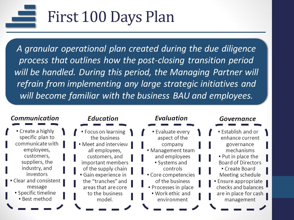 First 100 Days Plan A granular operational plan created during the due diligence process that outlines how the post-closing transition period will be