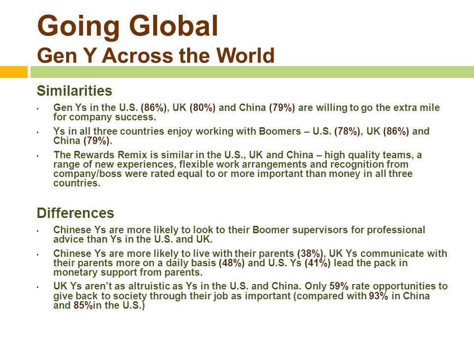 Going Global Gen Y Across the World Similarities Gen Ys in the U.S. (86%), UK (80%) and China (79%) are willing to go the extra mile for company succe