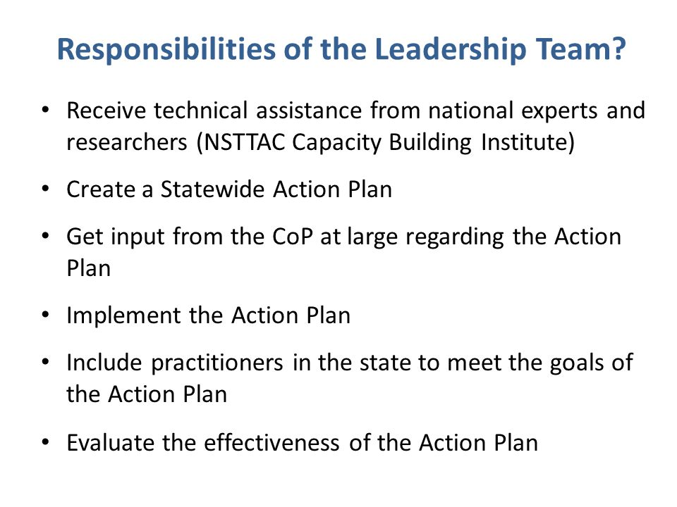 Responsibilities of the Leadership Team.