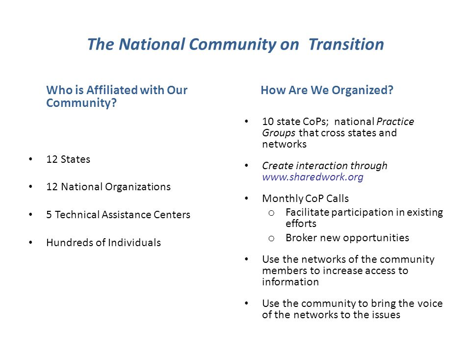 The National Community on Transition Who is Affiliated with Our Community.