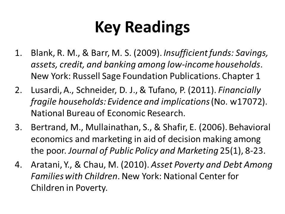 Key Readings 1.Blank, R. M., & Barr, M. S. (2009).