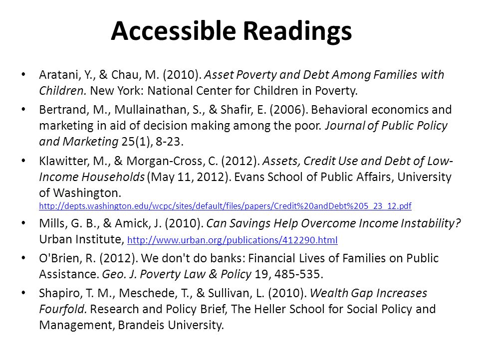 Accessible Readings Aratani, Y., & Chau, M. (2010).