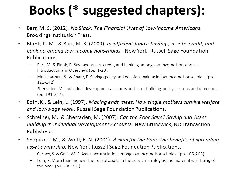 Books (* suggested chapters): Barr, M. S. (2012).