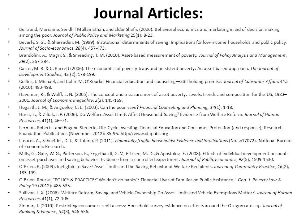 Journal Articles: Bertrand, Marianne, Sendhil Mullainathan, and Eldar Shafir.