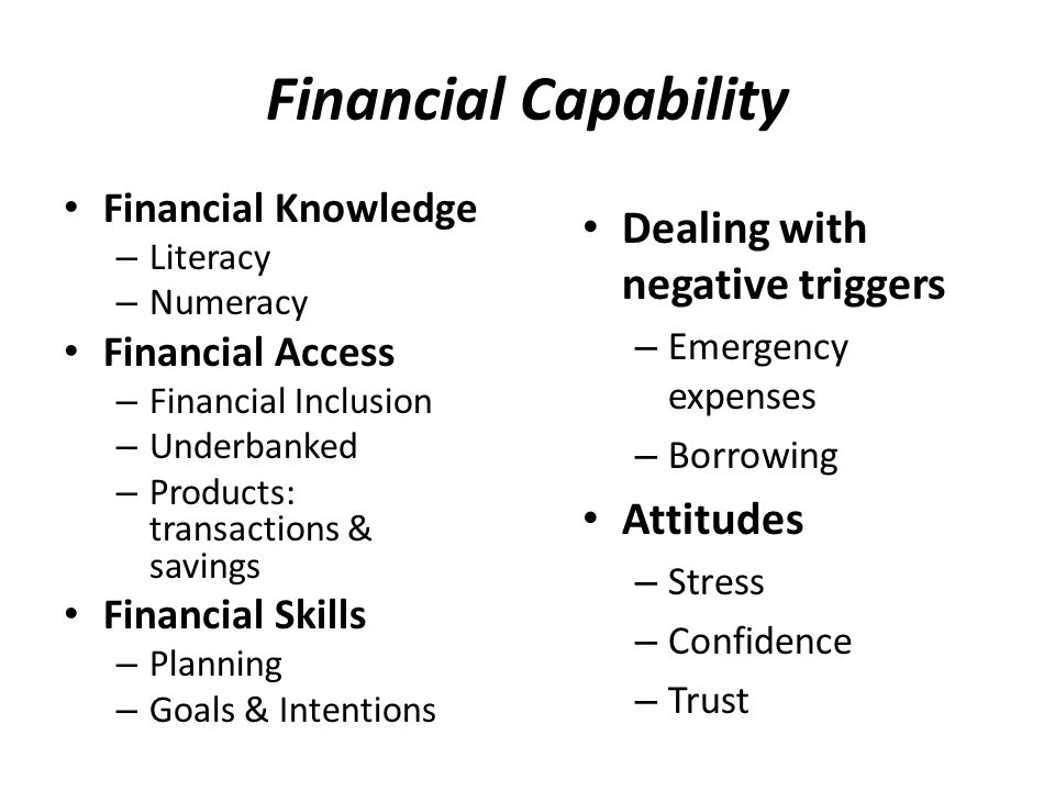 Asset Building Savings – Restricted purpose Small business Homeownership Education Risk-taking – Leverage assets with debt Political / Social Stake – Ownership in community Future Orientation – Aspirations for children