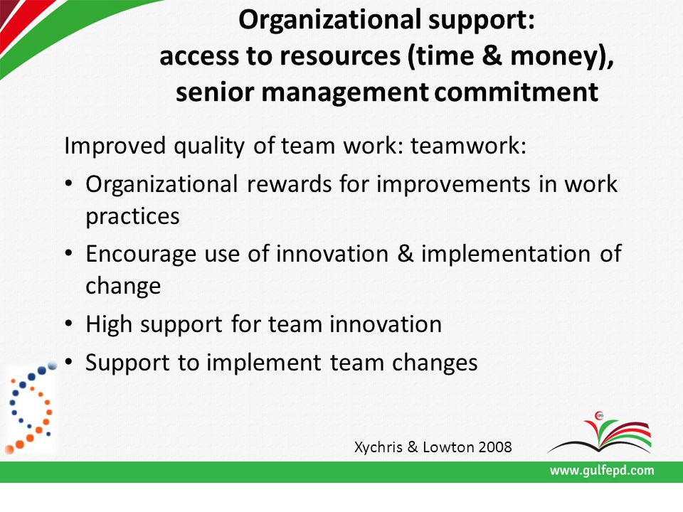 Organizational support: access to resources (time & money), senior management commitment Improved quality of team work: teamwork: Organizational rewards for improvements in work practices Encourage use of innovation & implementation of change High support for team innovation Support to implement team changes Xychris & Lowton 2008