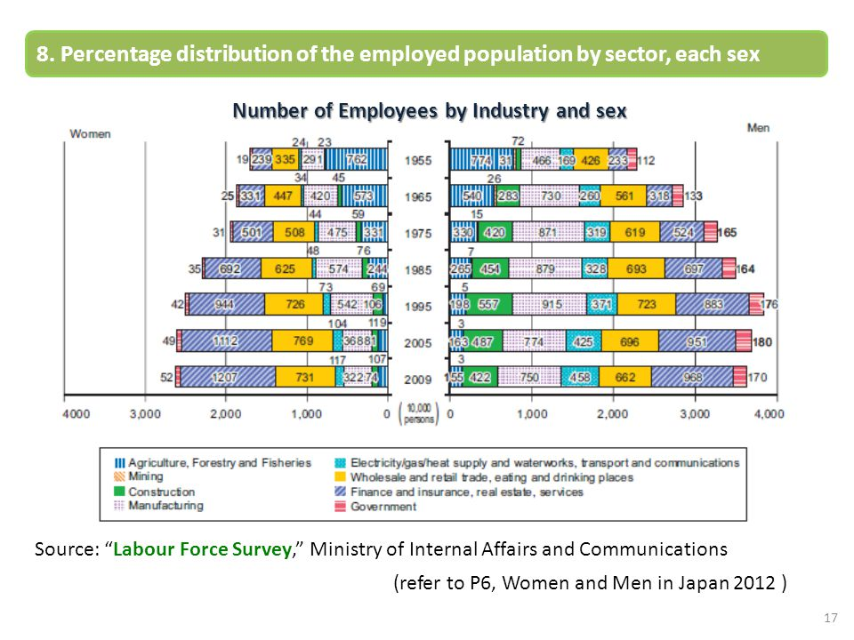 "Number of Employees by Industry and sex 17 8. Percentage distribution of the employed population by sector, each sex Source: ""Labour Force Survey,"" Mi"