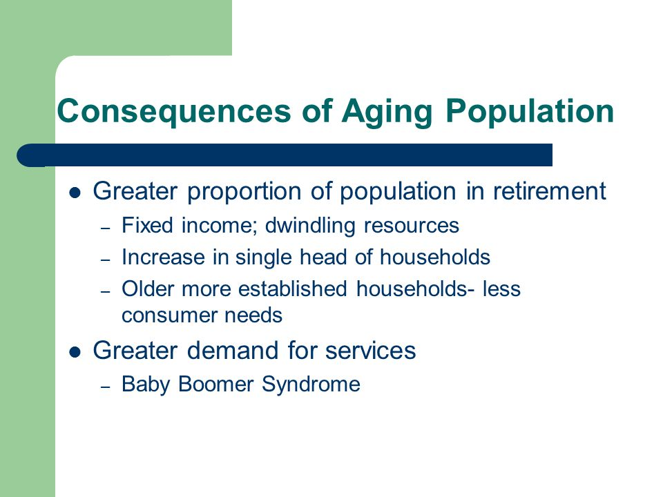 Consequences of Aging Population Greater proportion of population in retirement – Fixed income; dwindling resources – Increase in single head of households – Older more established households- less consumer needs Greater demand for services – Baby Boomer Syndrome